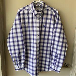 Cinch Purple & White Button Down Shirt Sz M NWOT